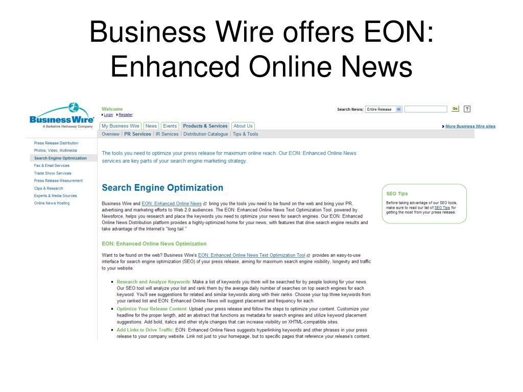 Business Wire offers EON: Enhanced Online News