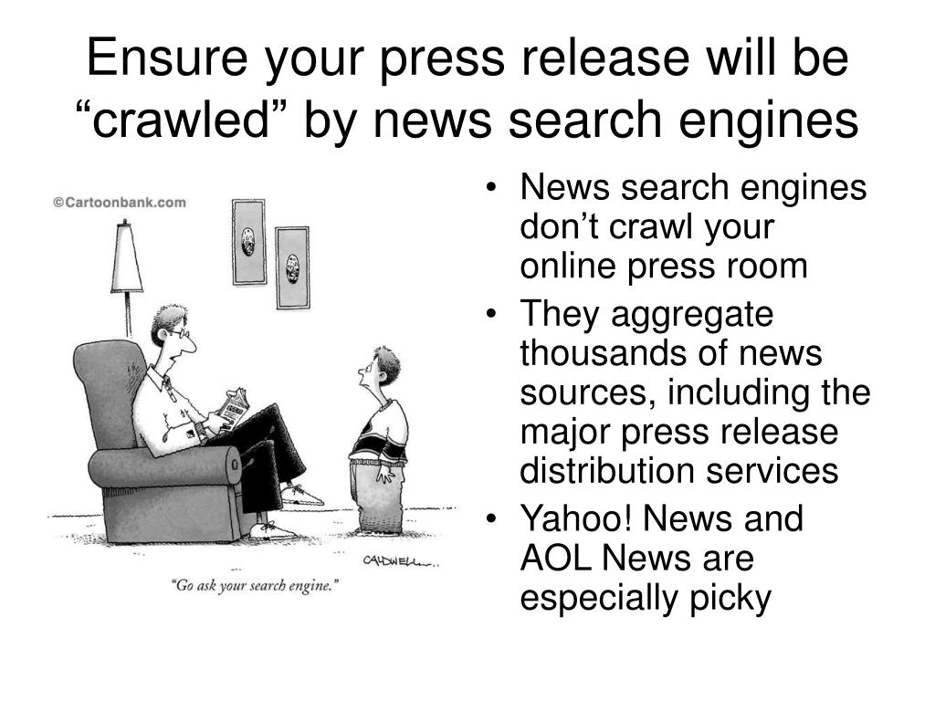 "Ensure your press release will be ""crawled"" by"