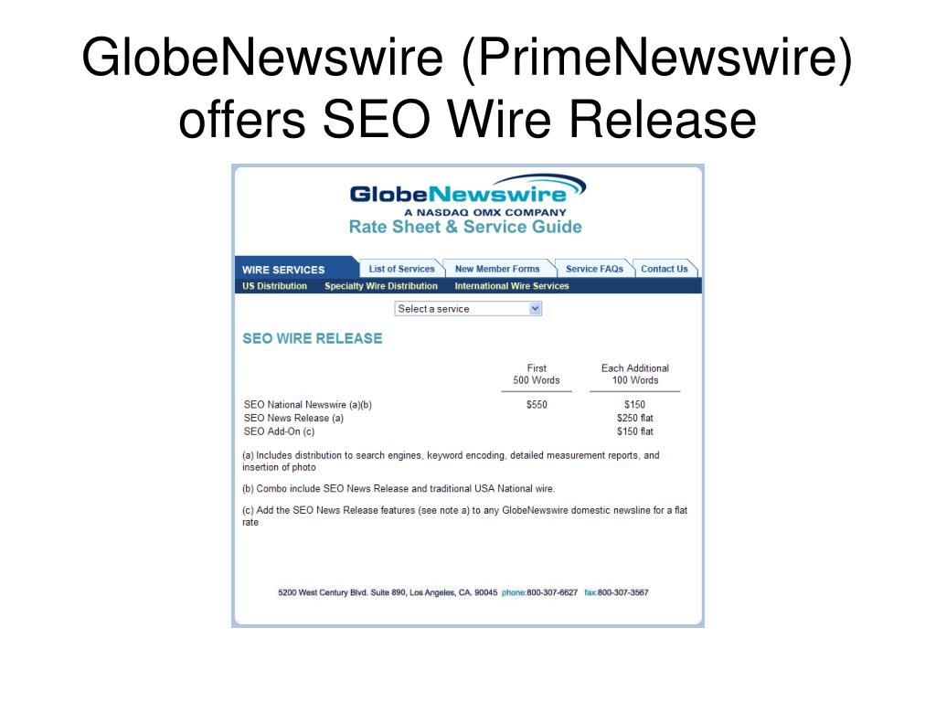 GlobeNewswire (PrimeNewswire) offers SEO Wire Release