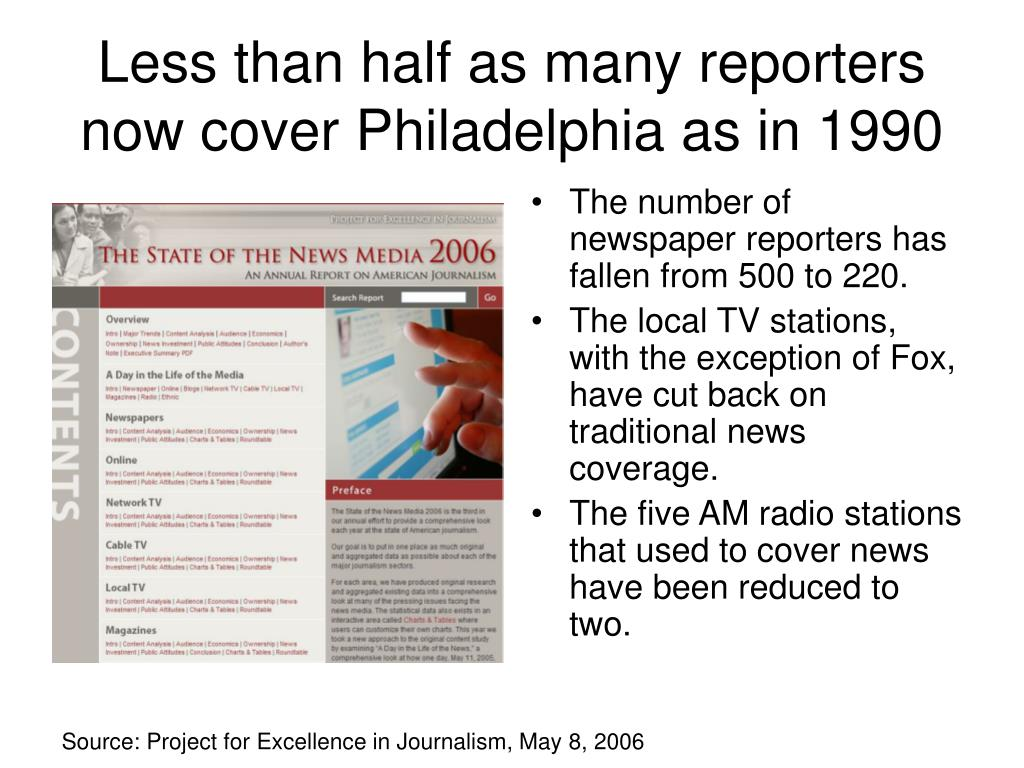 Less than half as many reporters now cover Philadelphia as in 1990