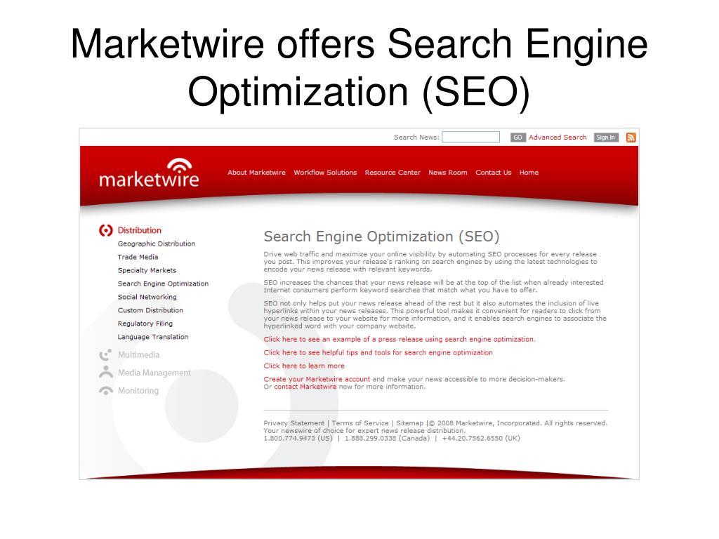Marketwire offers Search Engine Optimization (SEO)