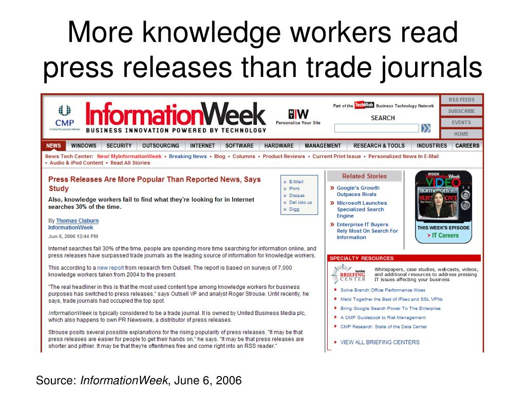 More knowledge workers read press releases than trade journals