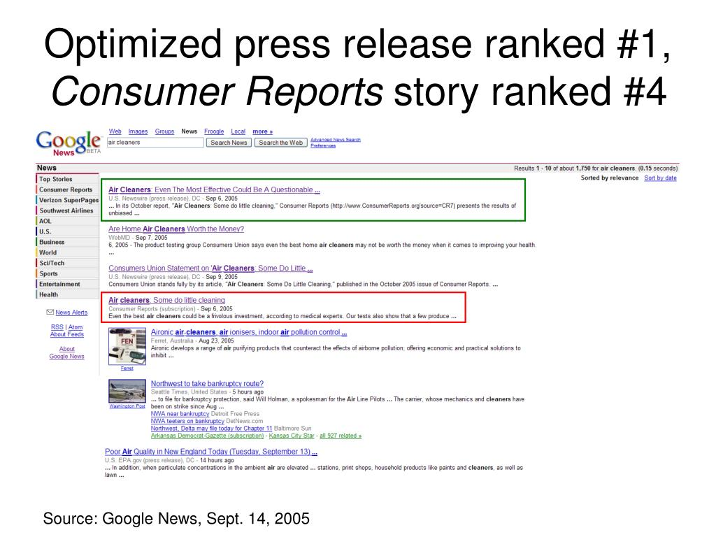 Optimized press release ranked #1,