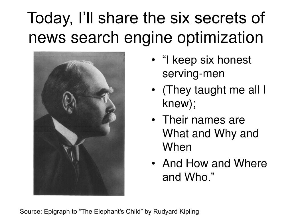Today, I'll share the six secrets of news search engine optimization