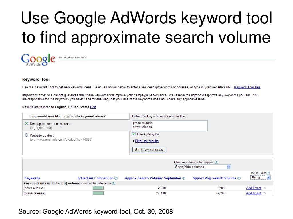 Use Google AdWords keyword tool to find approximate search volume