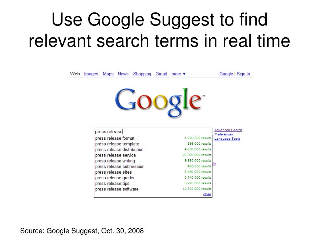Use Google Suggest to find relevant search terms in real time