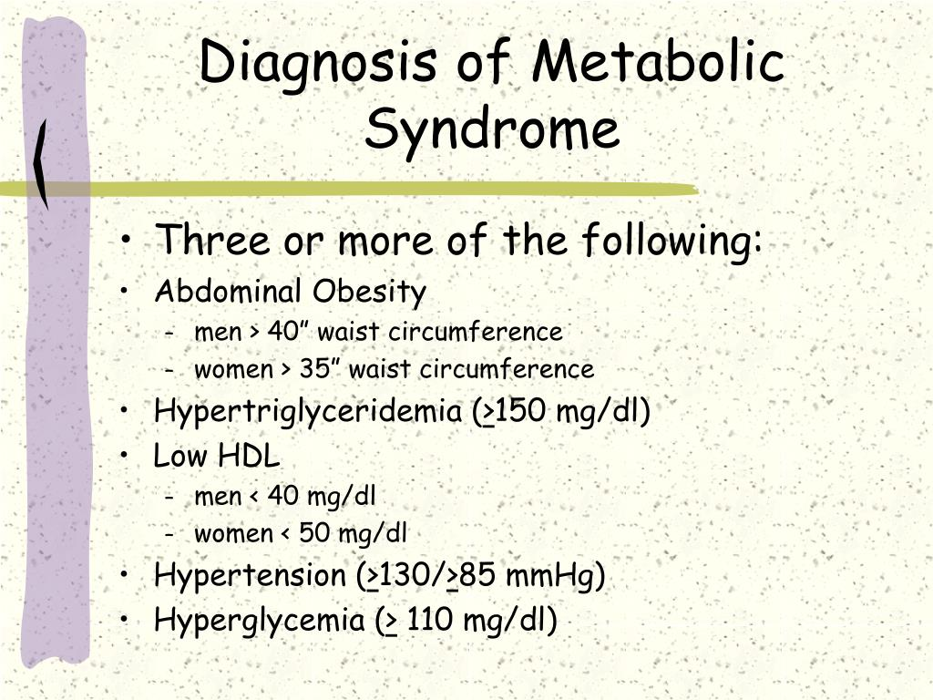 Diagnosis of Metabolic Syndrome