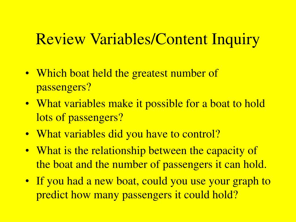 Review Variables/Content Inquiry