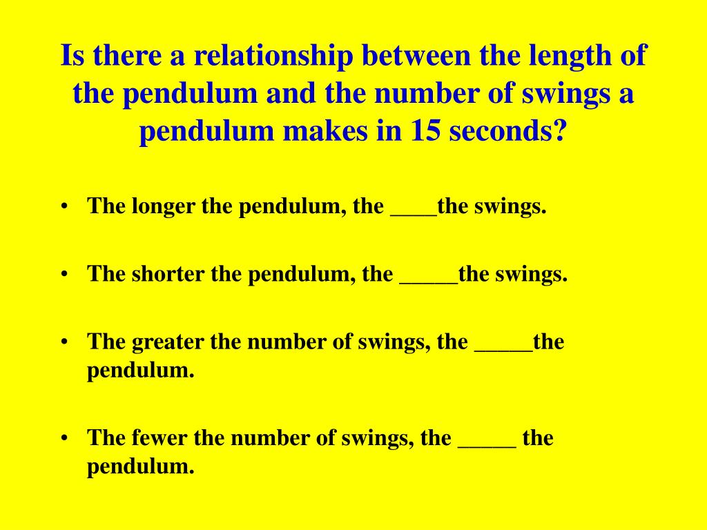 Is there a relationship between the length of the pendulum and the number of swings a pendulum makes in 15 seconds?