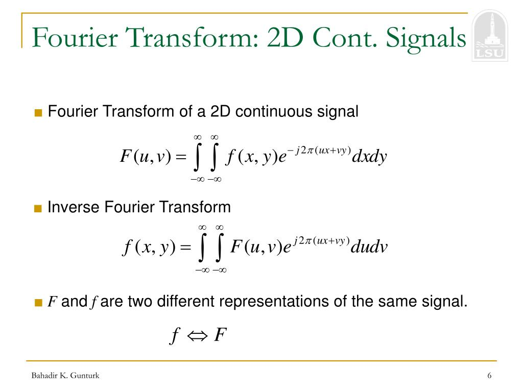 Fourier Transform: 2D Cont. Signals
