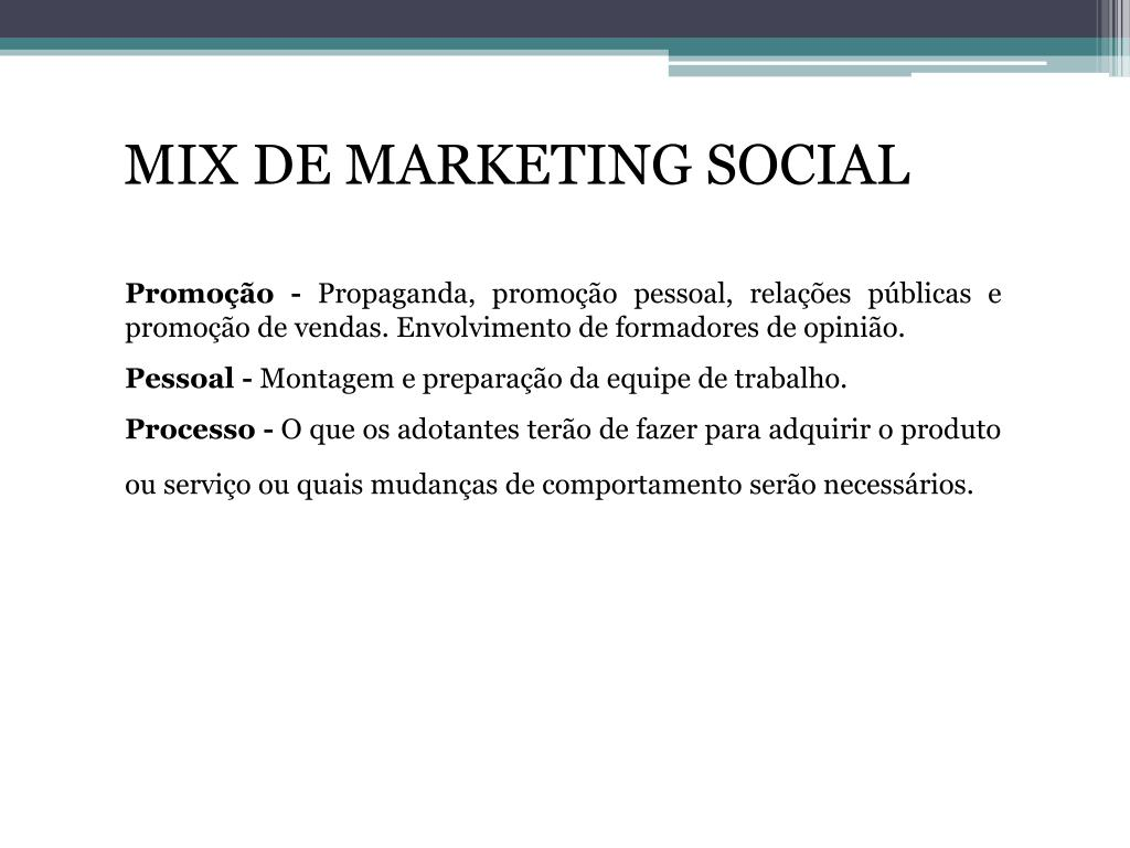 MIX DE MARKETING SOCIAL