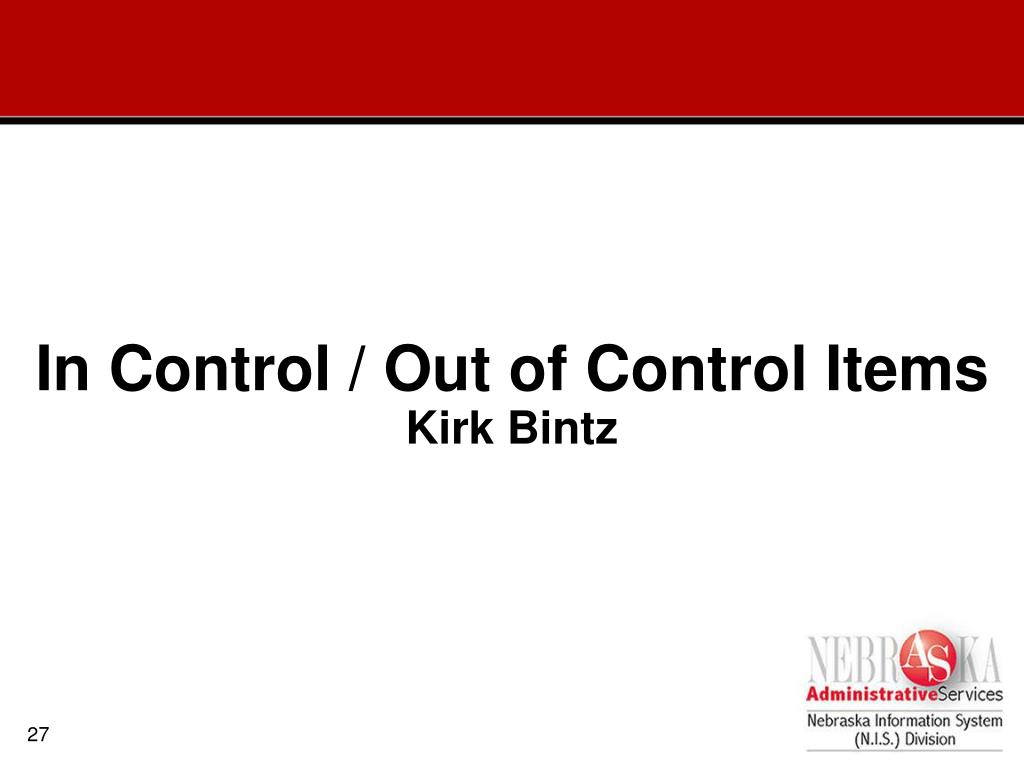 In Control / Out of Control Items
