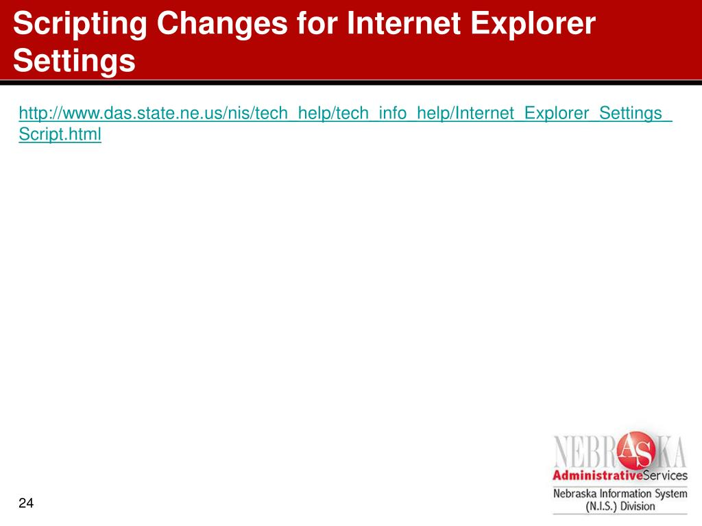 Scripting Changes for Internet Explorer Settings