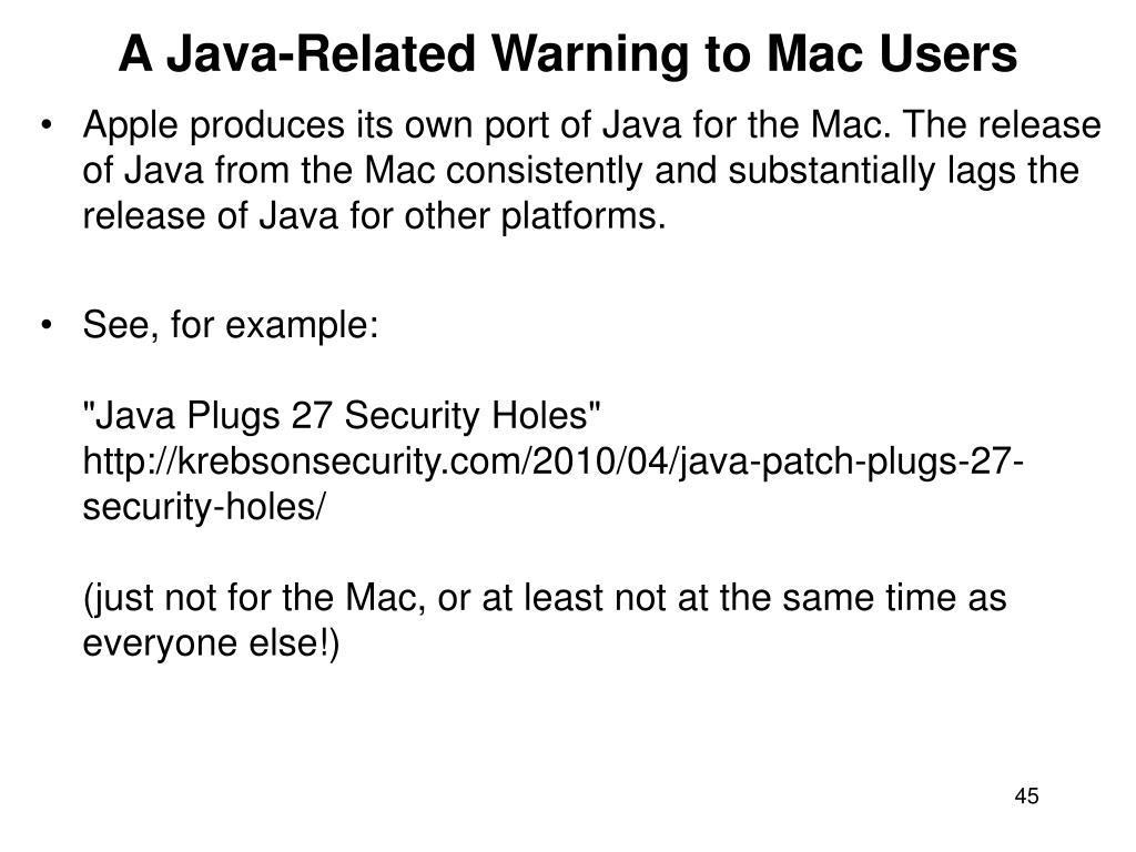 A Java-Related Warning to Mac Users