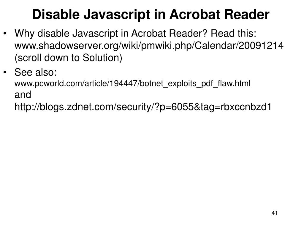 Disable Javascript in Acrobat Reader