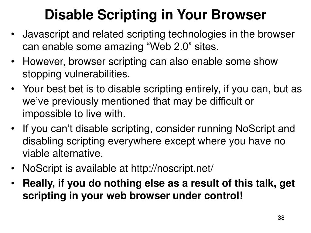 Disable Scripting in Your Browser