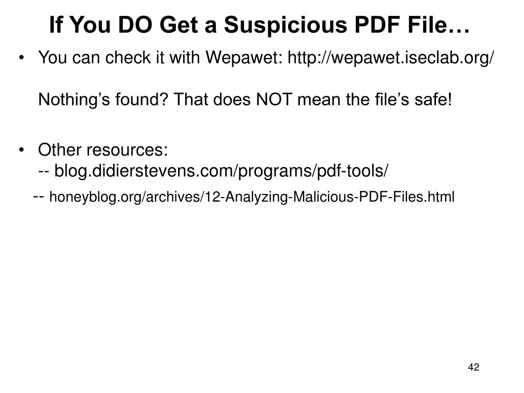 If You DO Get a Suspicious PDF File…