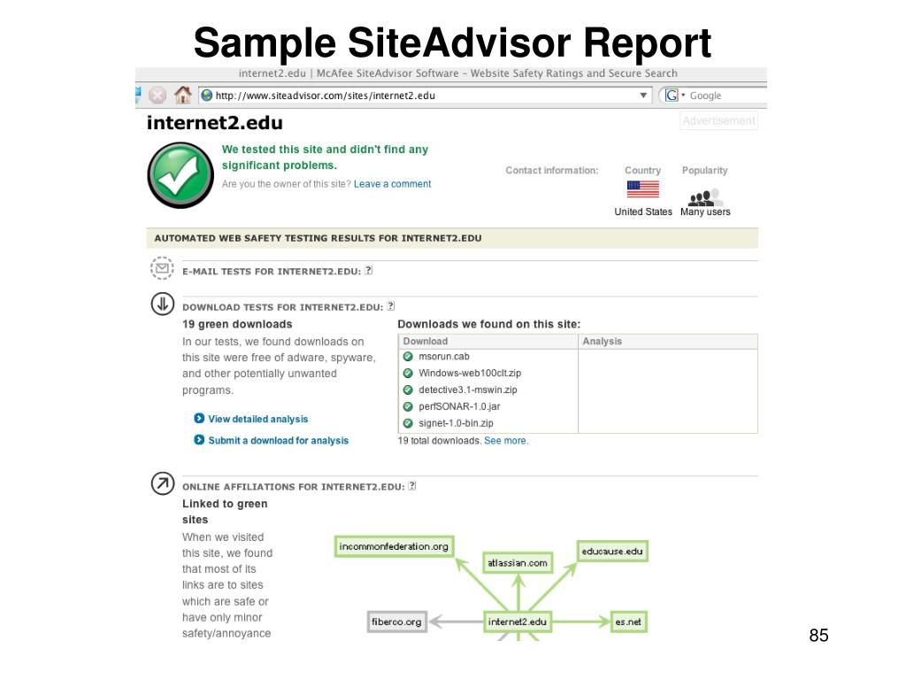 Sample SiteAdvisor Report