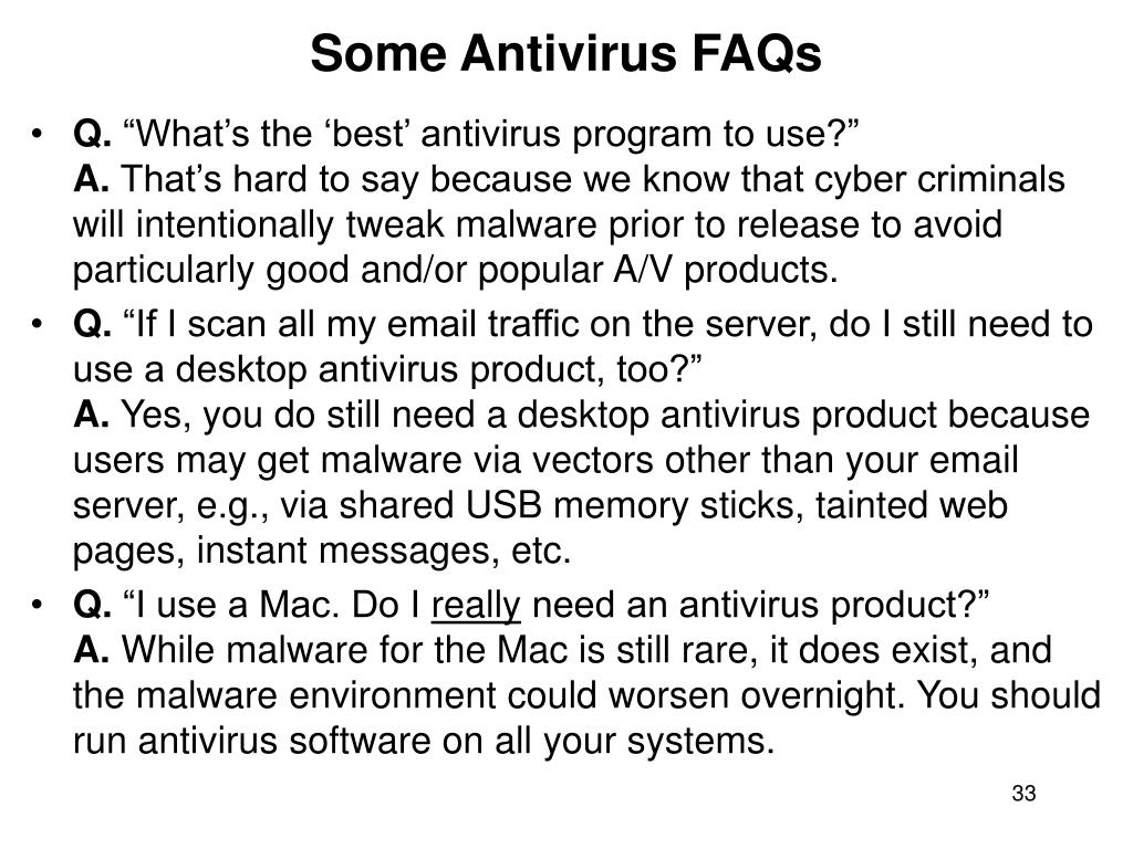 Some Antivirus FAQs