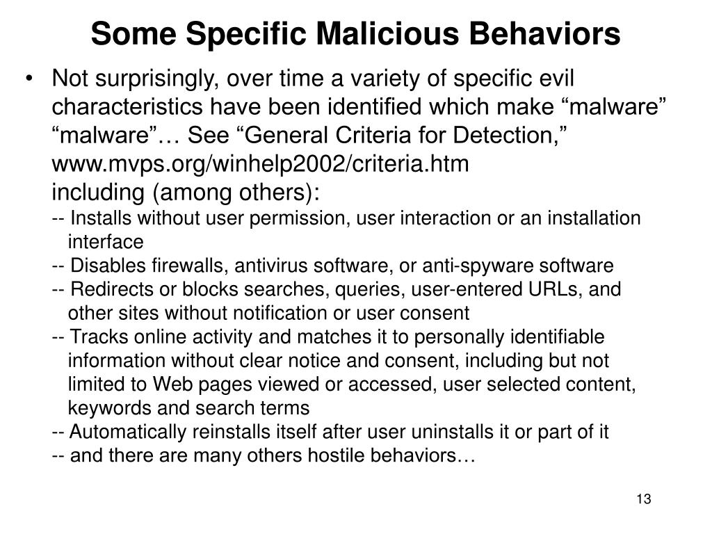 Some Specific Malicious Behaviors