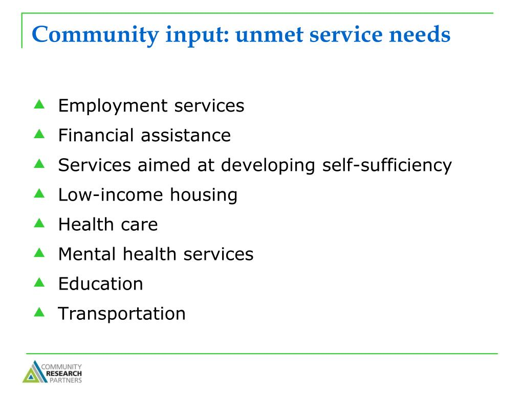 Community input: unmet service needs