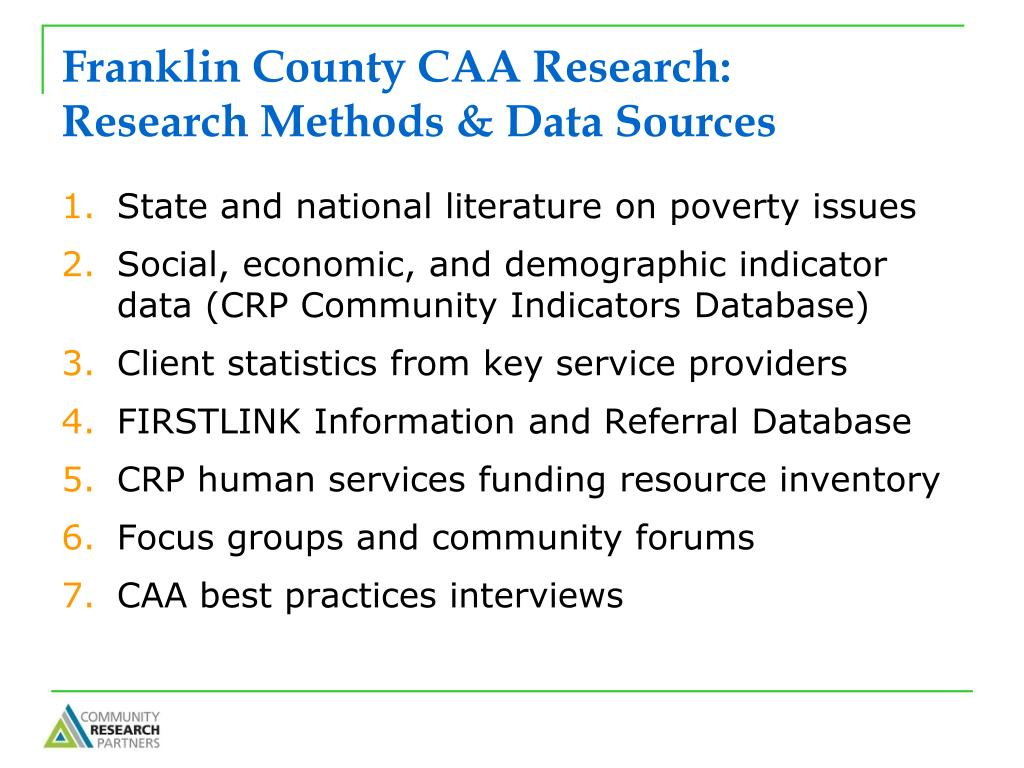 Franklin County CAA Research: