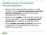 franklin county caa research research questions
