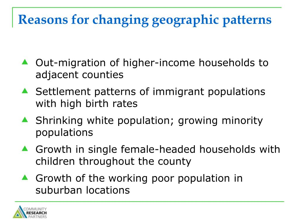 Reasons for changing geographic patterns