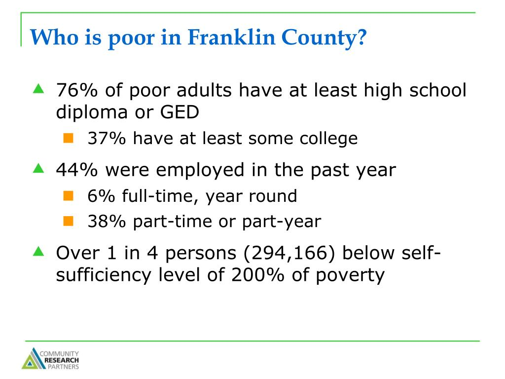 Who is poor in Franklin County?