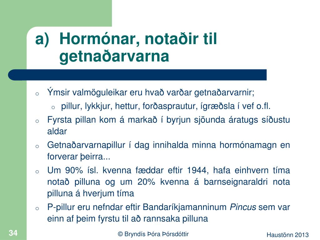 Hormónar, notaðir til