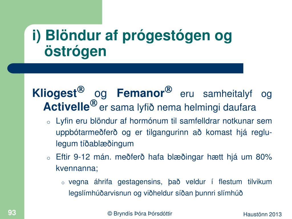 i) Blöndur af prógestógen og