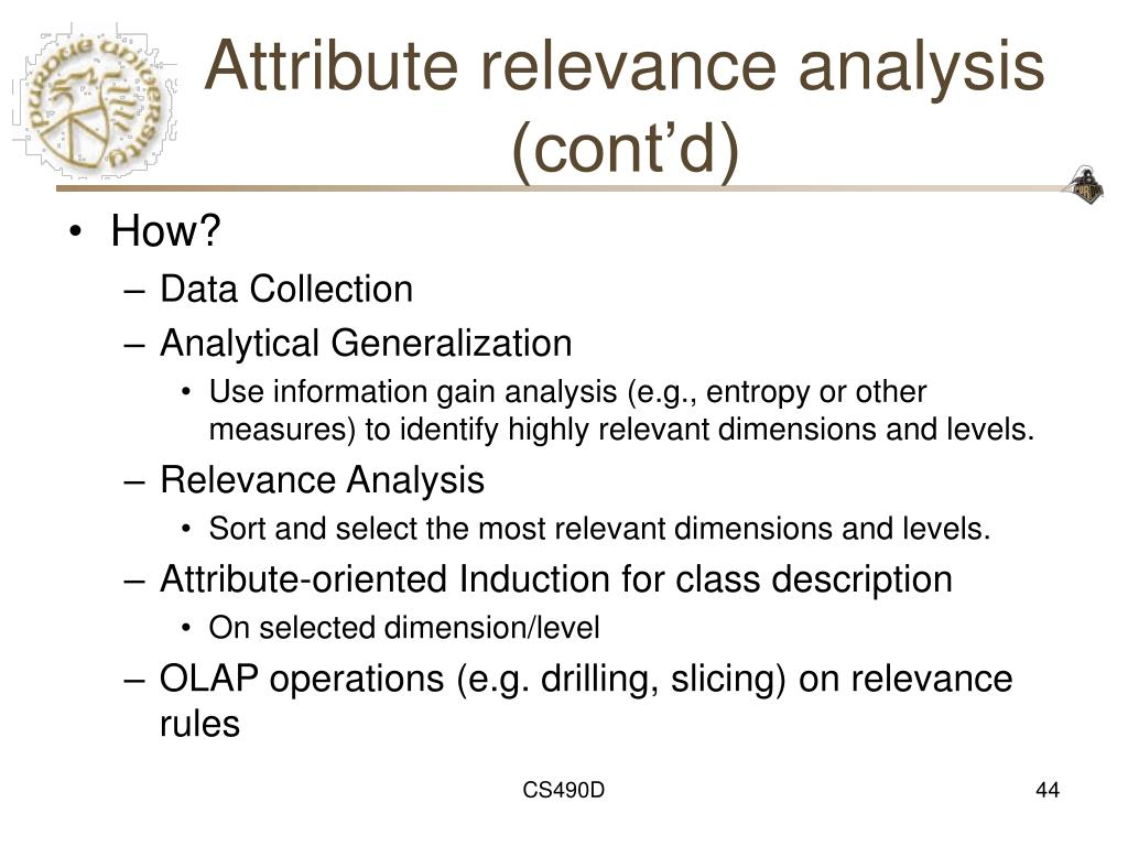 Attribute relevance analysis (cont'd)