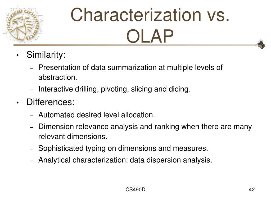 Characterization vs. OLAP
