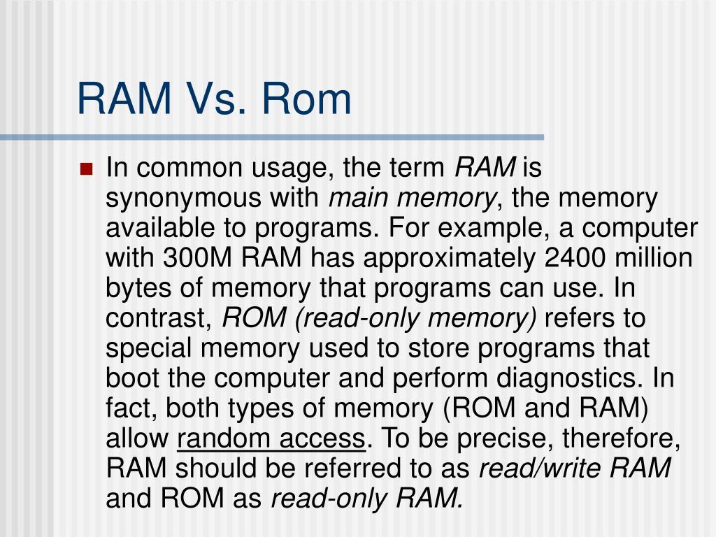 RAM Vs. Rom