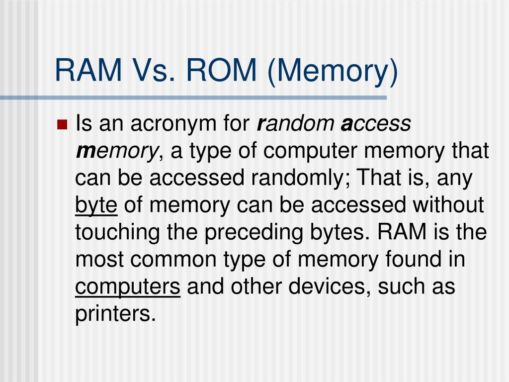 RAM Vs. ROM (Memory)