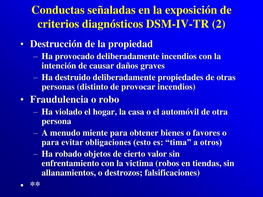 Conductas señaladas en la exposición de criterios diagnósticos DSM-IV-TR (2)