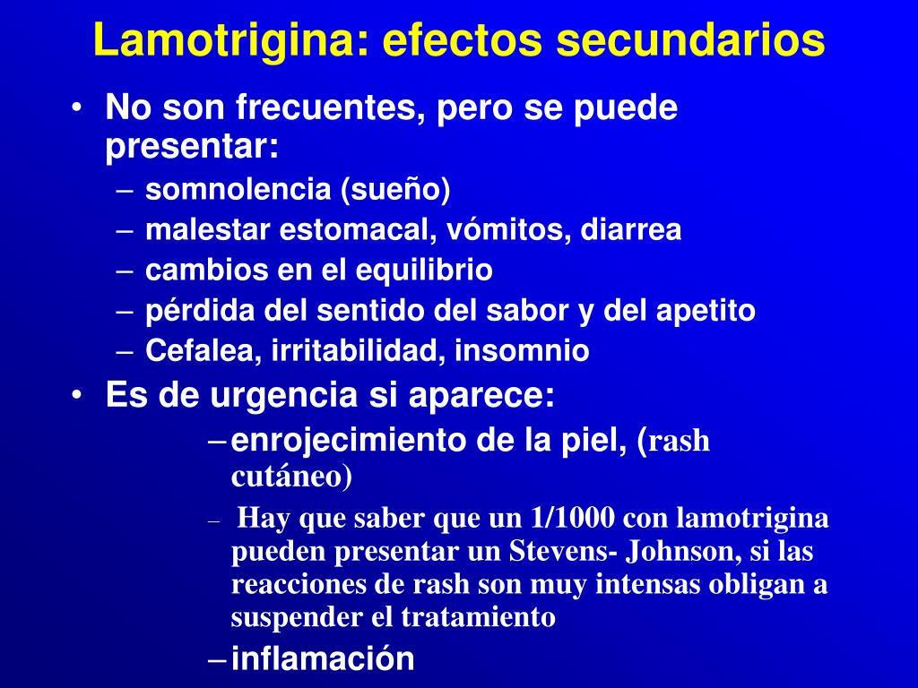 Lamotrigina: efectos secundarios