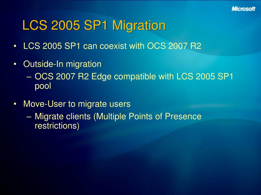 LCS 2005 SP1 Migration