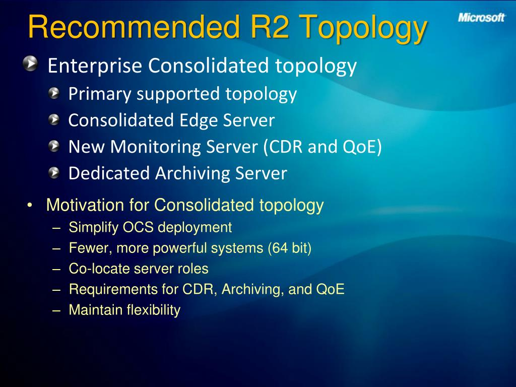 Recommended R2 Topology