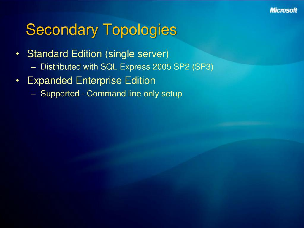 Secondary Topologies