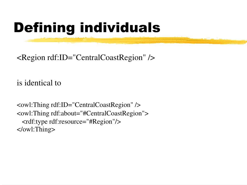 Defining individuals