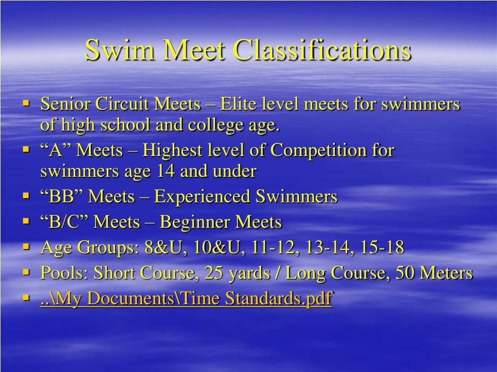 Swim Meet Classifications