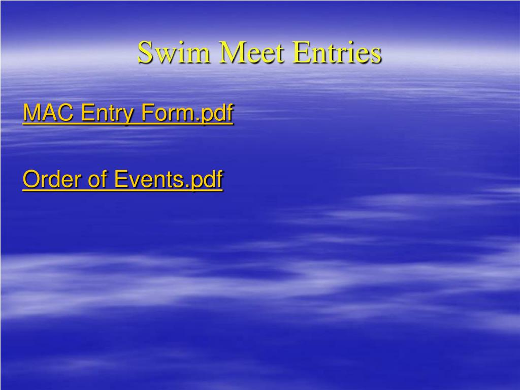 Swim Meet Entries