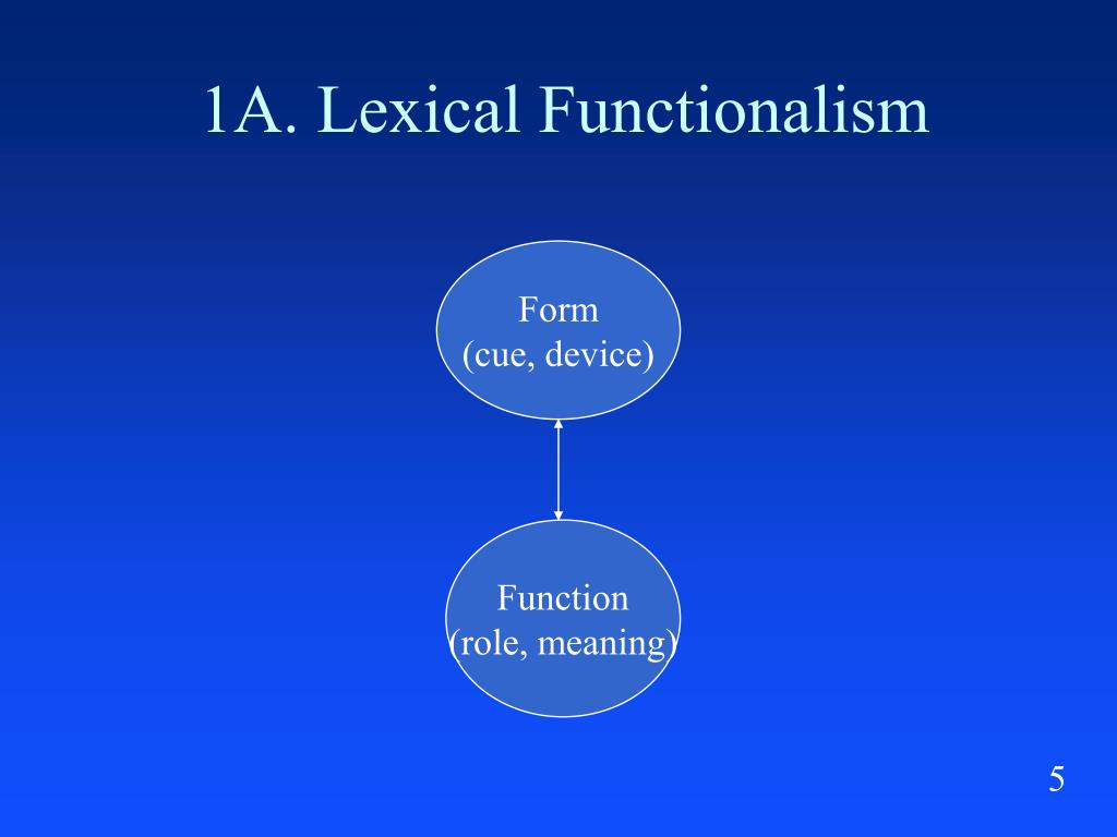 1A. Lexical Functionalism