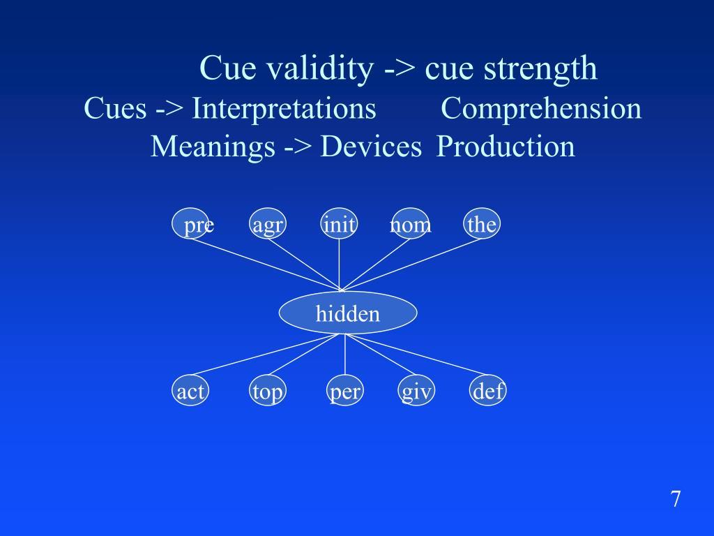Cue validity -> cue strength
