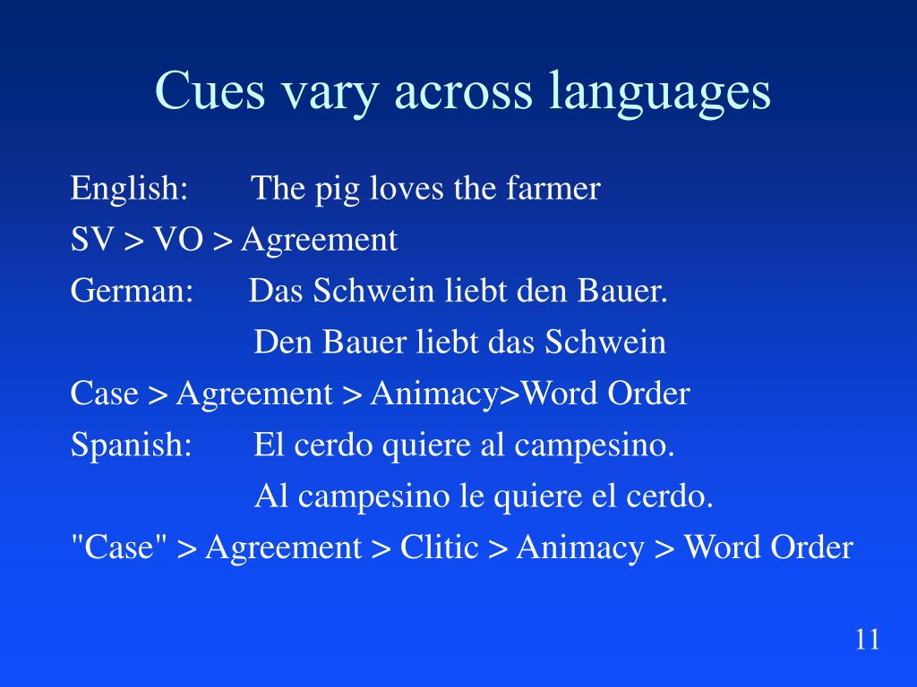 Cues vary across languages