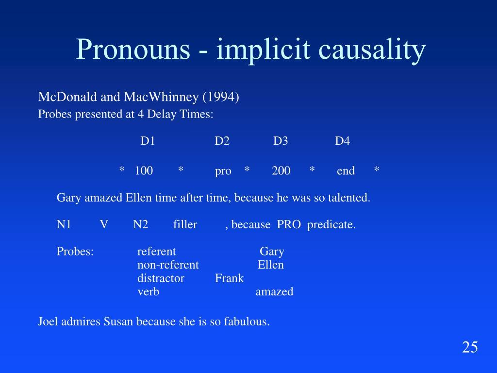 Pronouns - implicit causality