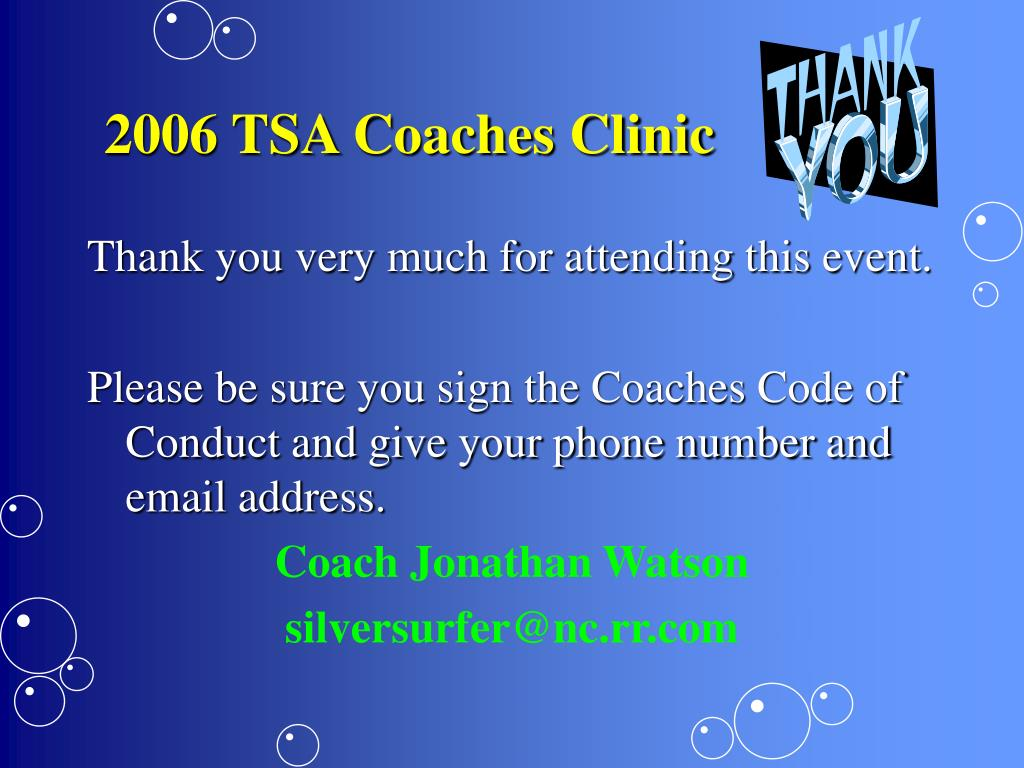 2006 TSA Coaches Clinic