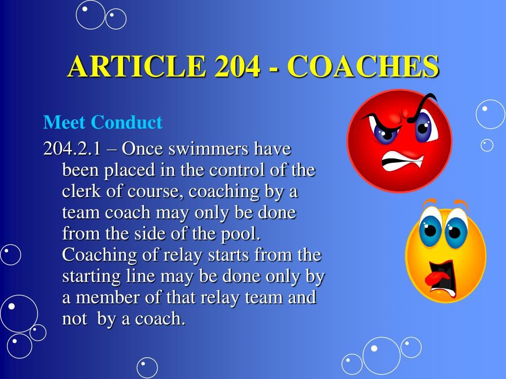 ARTICLE 204 - COACHES