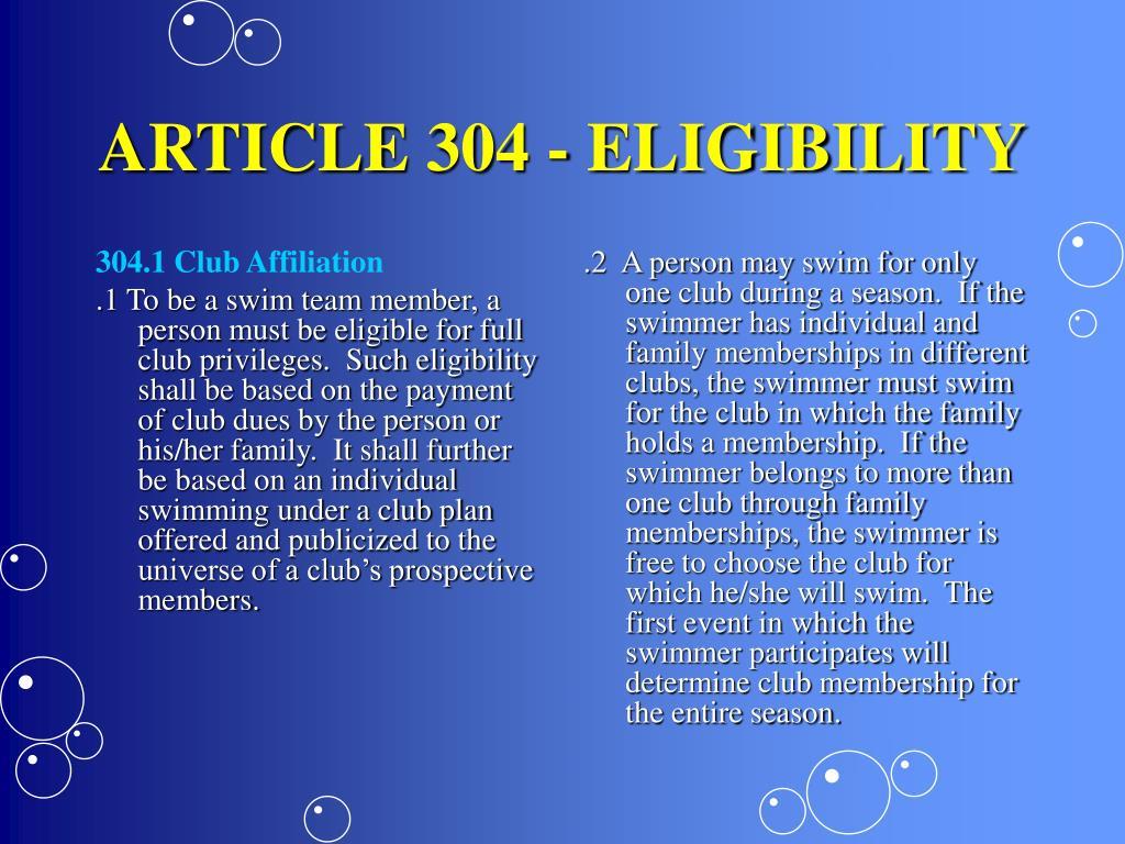 304.1 Club Affiliation